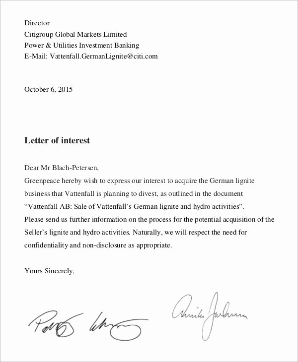 Letter Of Interest Templates Elegant Sample Letter Of Interest 8 Examples In Word Pdf