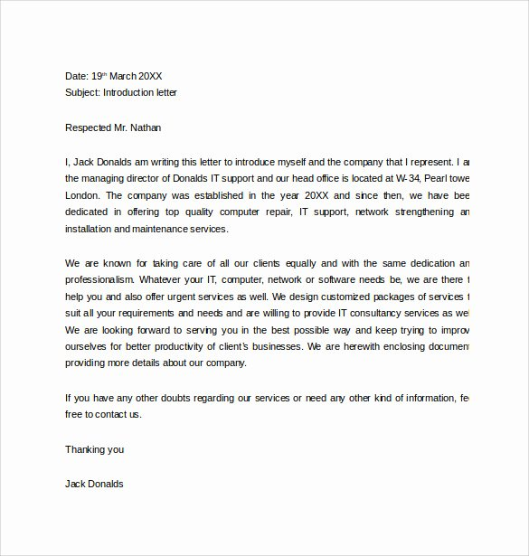 Letter Of Introduction Templates Unique Free 33 Sample Introduction Letters In Doc