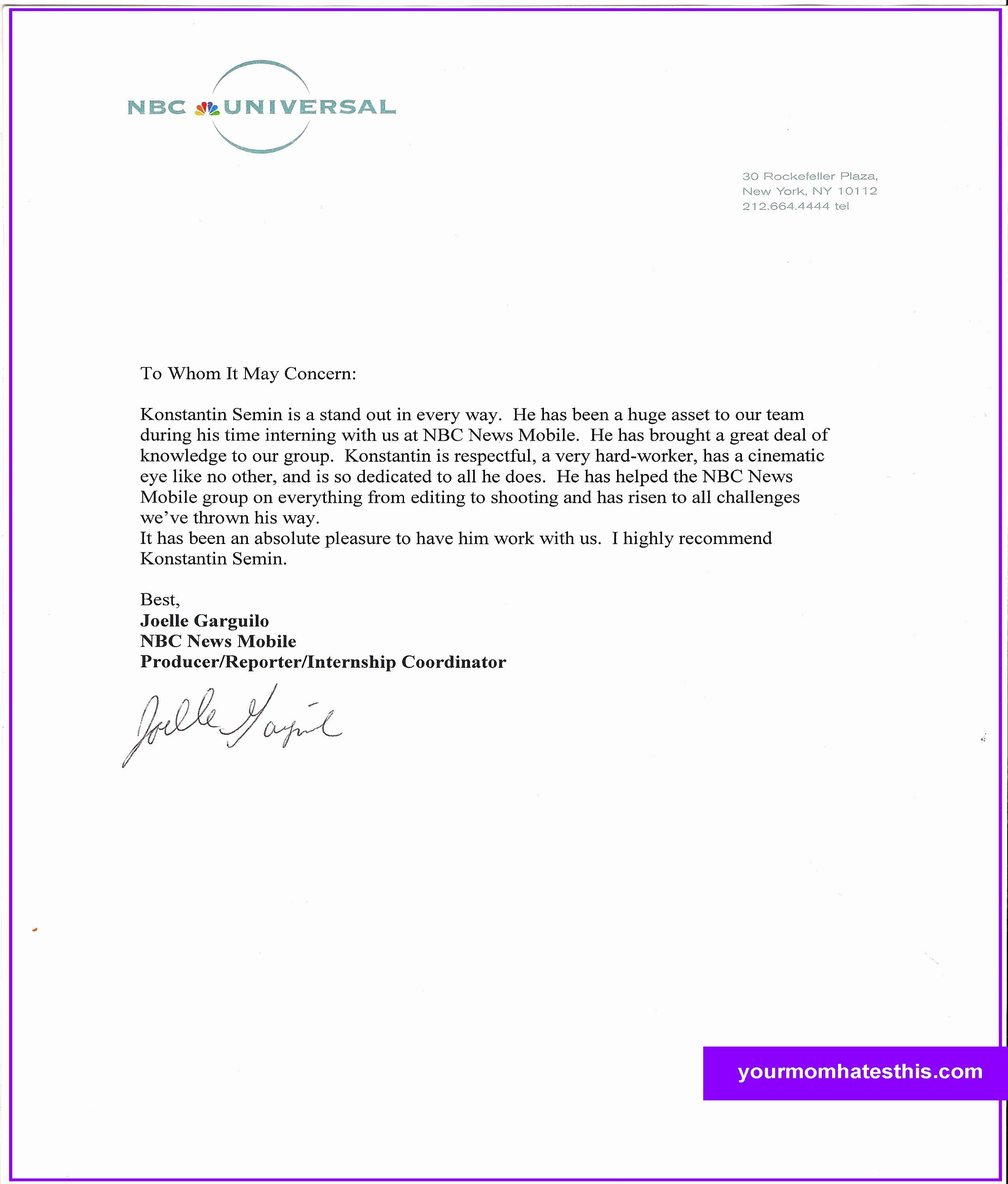 Letter Of Reccomendation Template Elegant Download Letter Of Re Mendation Samples
