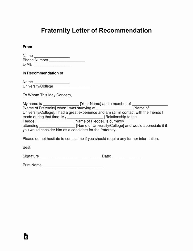 Letter Of Reccomendation Template Elegant Free Fraternity Letter Of Re Mendation Template with