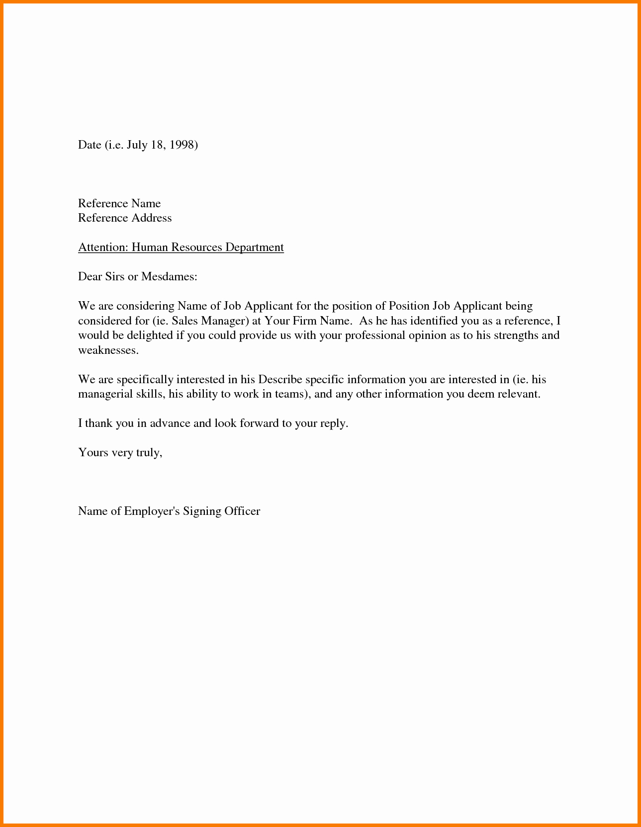 Letter Of Reccomendation Template Lovely Sample Re Mendation Letter From Employer Appeal Letters