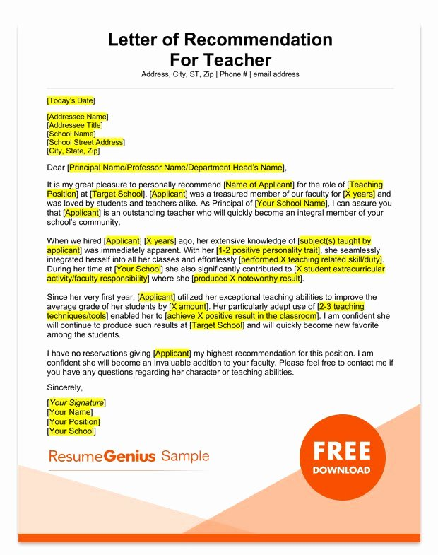 Letter Of Recomendation Templates Beautiful Student and Teacher Re Mendation Letter Samples