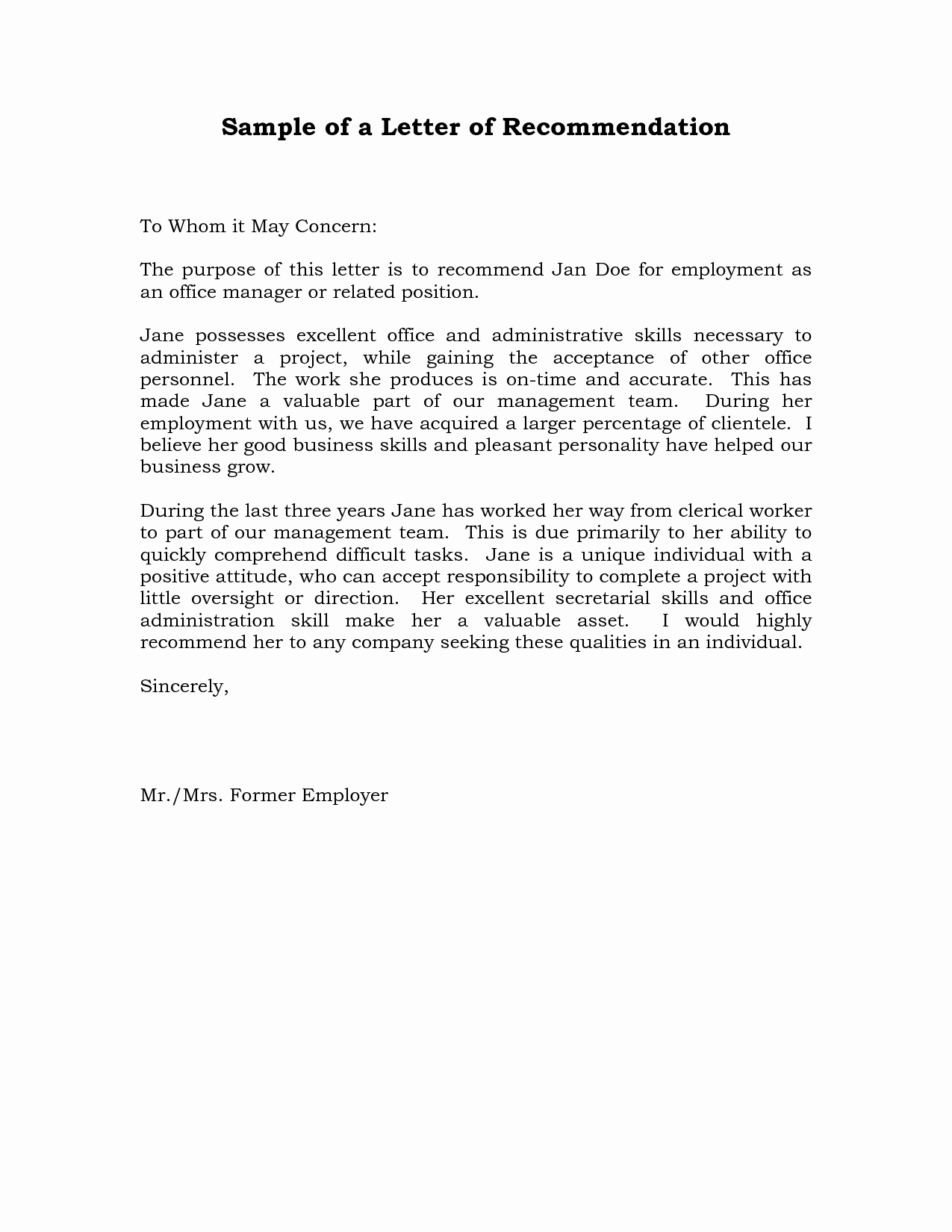 Letter Of Recomendation Templates Fresh Reference Letter Of Re Mendation Sample