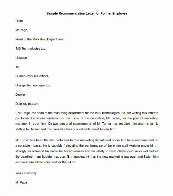 Letter Of Recomendation Templates Luxury 30 Re Mendation Letter Templates Pdf Doc