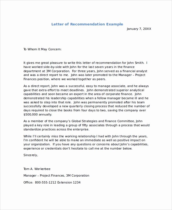 Letter Of Recomendation Templates Unique Sample Re Mendation Letters 8 Examples In Pdf Word