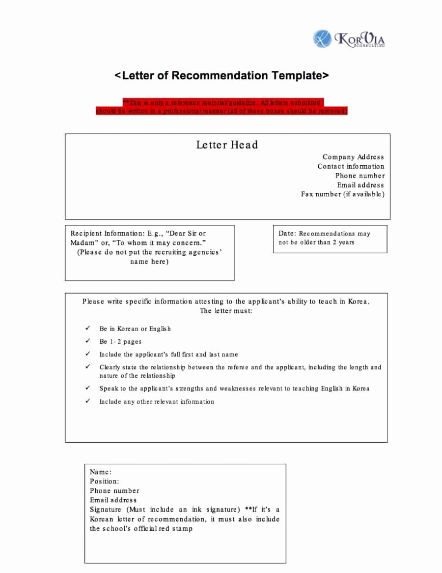 Letter Of Recommendation Template Free Elegant 43 Free Letter Of Re Mendation Templates & Samples