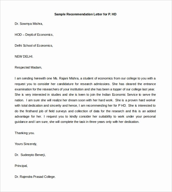 Letter Of Recommendation Template Free Inspirational 30 Re Mendation Letter Templates Pdf Doc