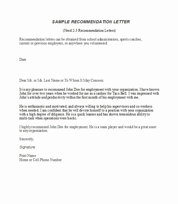 Letter Of Recommendation Templates Free Best Of 50 Best Re Mendation Letters for Employee From Manager