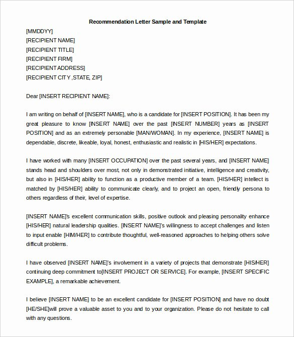 Letter Of Recommendation Templates Free Lovely 30 Re Mendation Letter Templates Pdf Doc