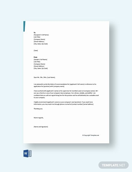 Letter Of Recommendation Templates Free Lovely 94 Free Re Mendation Letter Templates Pdf