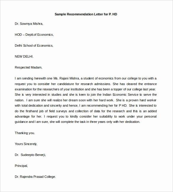 Letter Of Recommendation Templates Free Unique 30 Re Mendation Letter Templates Pdf Doc