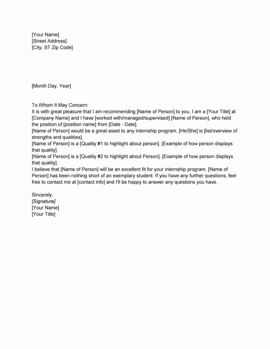 Letter Of Recommendation Templates Free Unique 43 Free Letter Of Re Mendation Templates & Samples