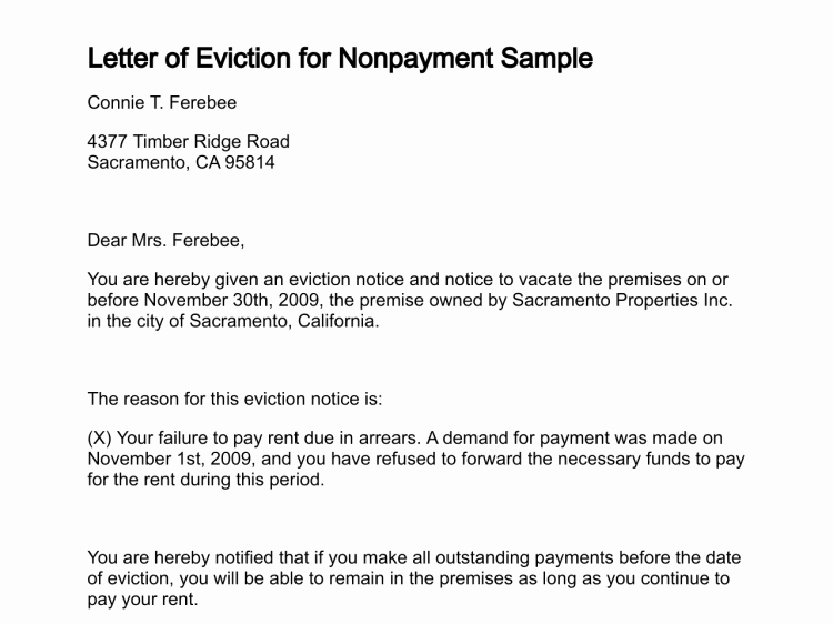 Letters Of Eviction Template Awesome Letter Of Eviction