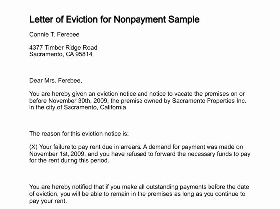 Letters Of Eviction Template Best Of Printable Sample Letter Eviction form
