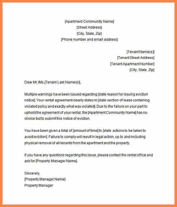 Letters Of Eviction Template Elegant 7 Tenant Eviction Notice form