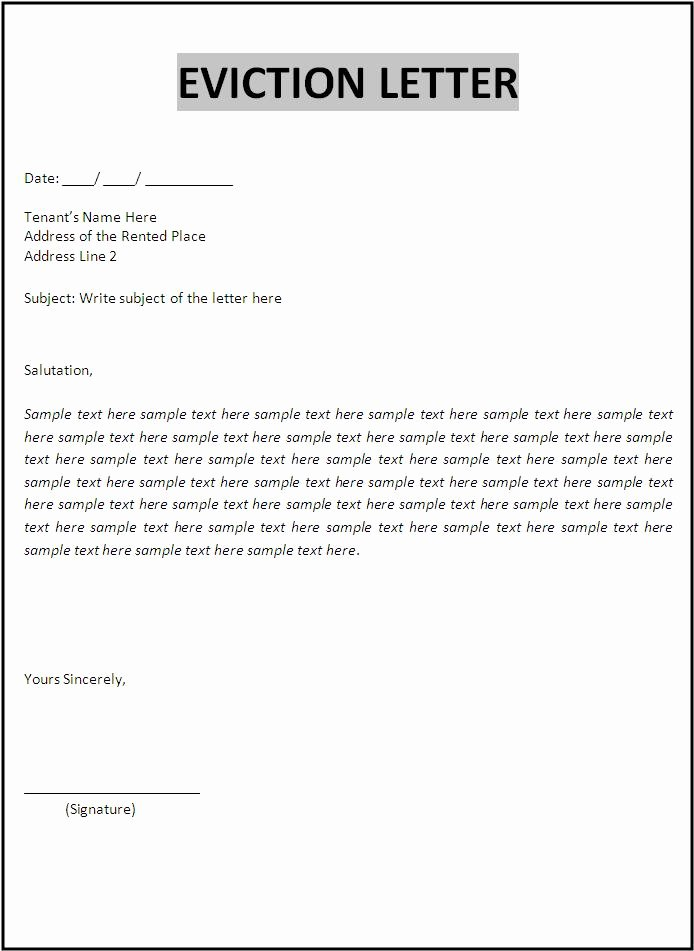 Letters Of Eviction Template Fresh Eviction Letter Template