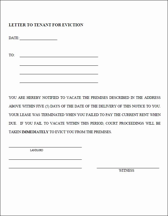 Letters Of Eviction Template New 10 Eviction Notice Templates Free Download for Pdf