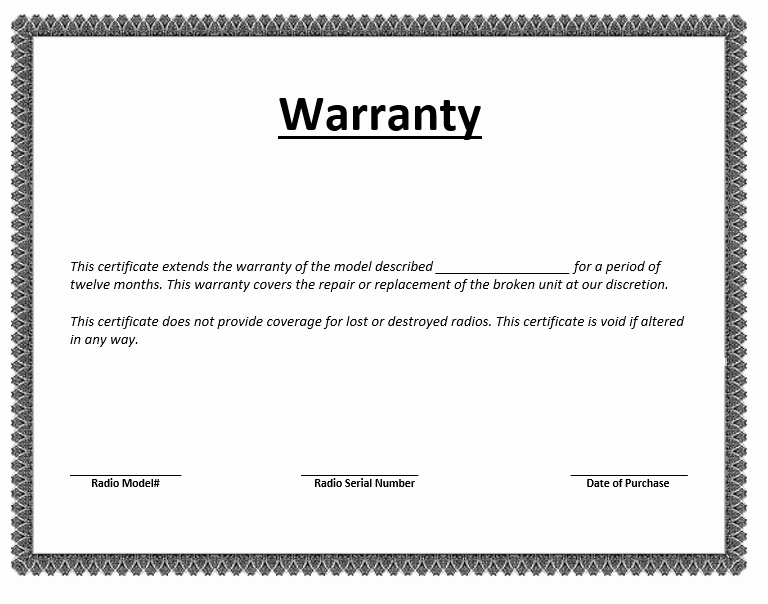 Letters Of Guarantee Templates Awesome Warranty Certificate Template – Word Templates for Free