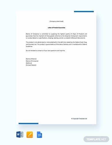 Letters Of Guarantee Templates Luxury 13 Guarantee Letter Templates In Google Docs