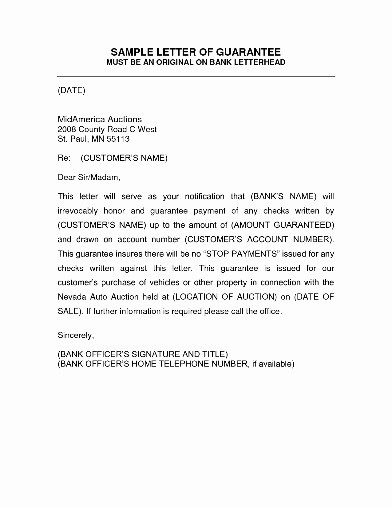 Letters Of Guarantee Templates New Letter Of Guarantee Template Auto Title – Aktin