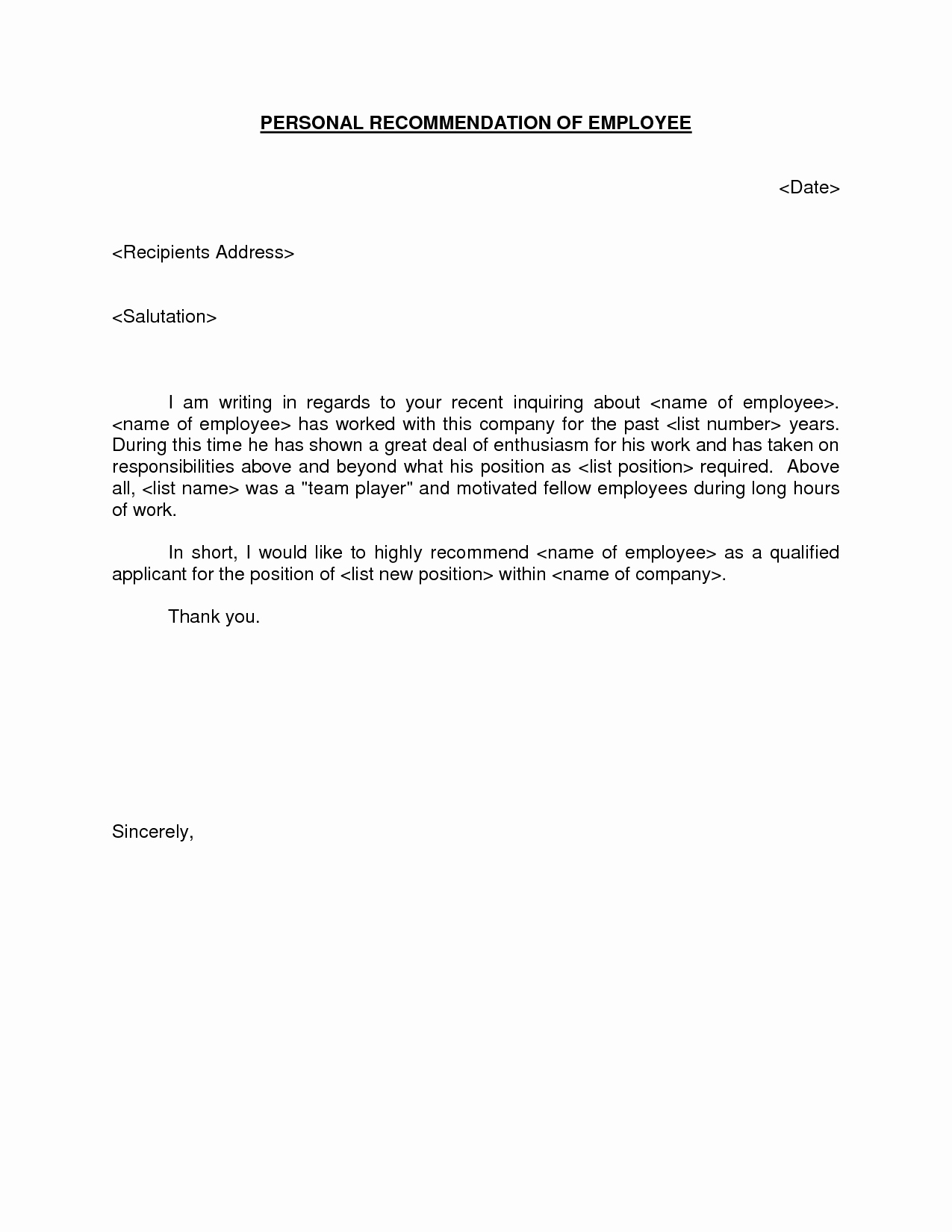 Letters Of Recommendation Template Awesome 4 Amazing Sample Re Mendation Letter