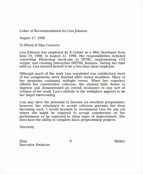 Letters Of Recommendation Template Lovely 19 Professional Reference Letter Template Free Sample