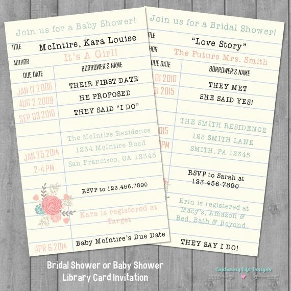 Library Card Invitations Template Awesome Library Card Bridal Shower or Baby Shower Invitation