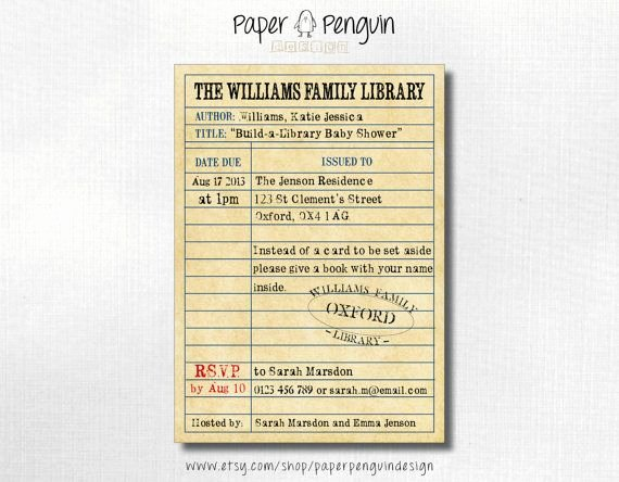 Library Card Invitations Template Best Of Build A Library Book themed Baby Shower Invitation Bring