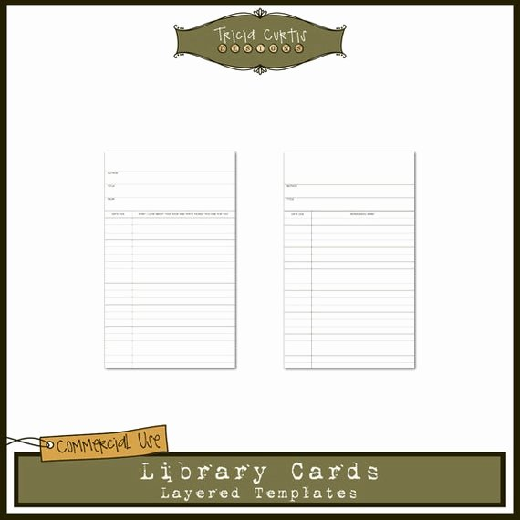 Library Card Invitations Template Best Of Library Cards Mercial Use Layered Templates for by