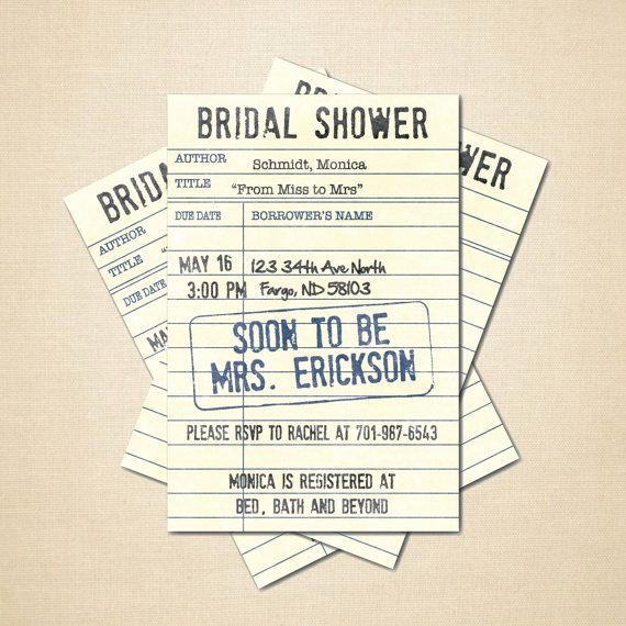 Library Card Invitations Template Elegant Printable Bridal Shower Invitation 4x6 Diy Library Card