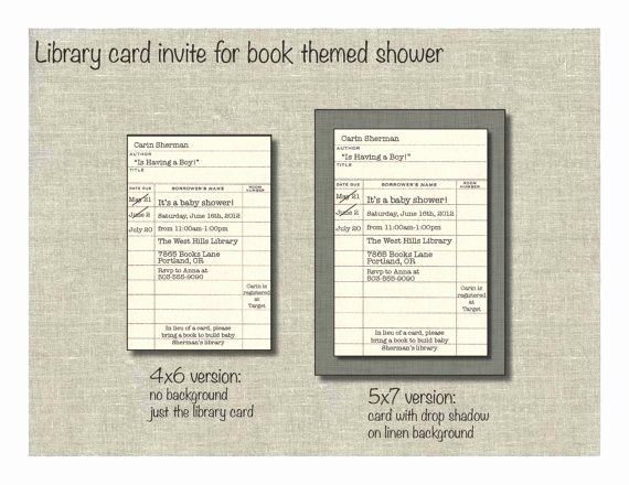 Library Card Invitations Template Fresh Library Card Invite for Book themed Shower Library Card