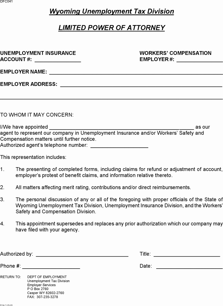 Limited Power Of attorney Template Awesome Free Wyoming Limited Power Of attorney form Pdf