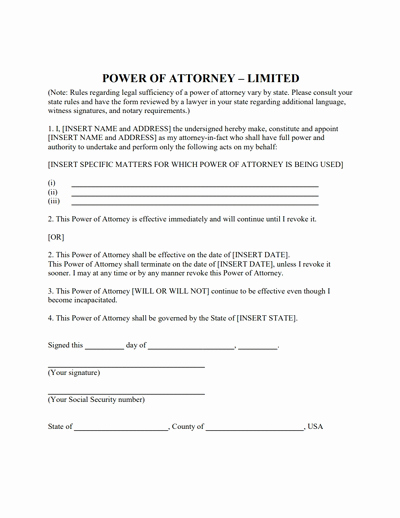Limited Power Of attorney Template Beautiful Limited Power Of attorney form Download Create Fill