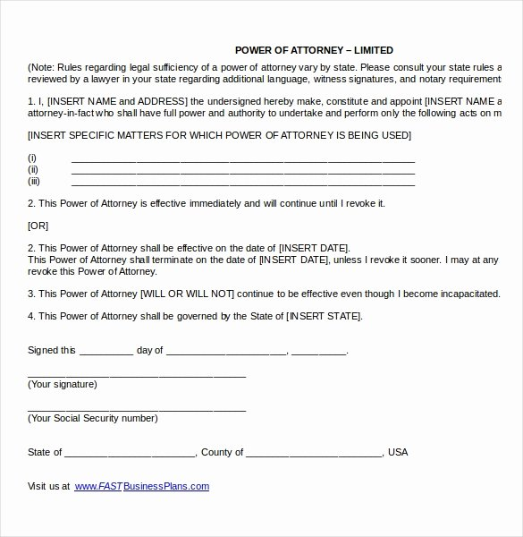 Limited Power Of attorney Template Elegant Power Of attorney Templates – 10 Free Word Pdf Documents