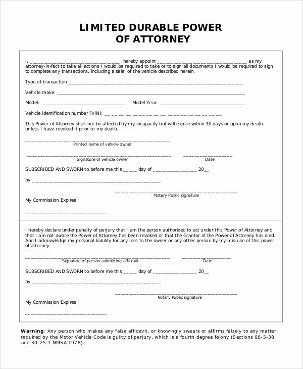 Limited Power Of attorney Template Elegant Sample Limited Power Of attorney form 10 Examples In