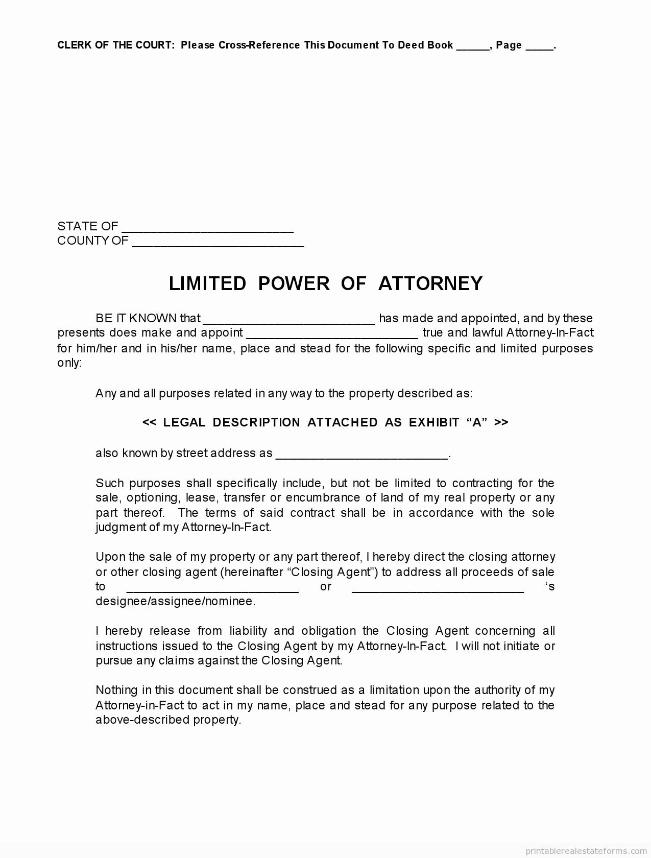 Limited Power Of attorney Template Elegant Sample Printable Limited Power Of attorney form