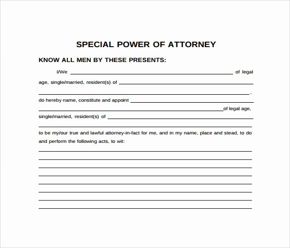 Limited Power Of attorney Template Inspirational Special Power Of attorney form 8 Free Samples Examples