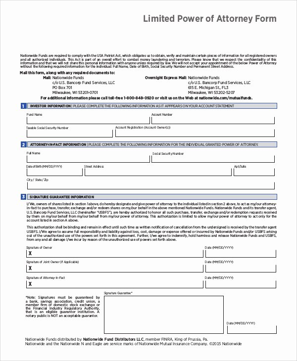 Limited Power Of attorney Template Luxury Sample Limited Power Of attorney form 10 Examples In