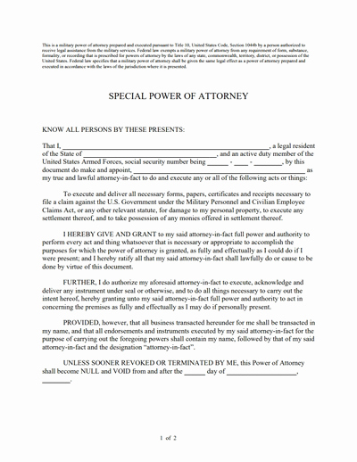 Limited Power Of attorney Template Unique Special Power Of attorney form Free Download Create