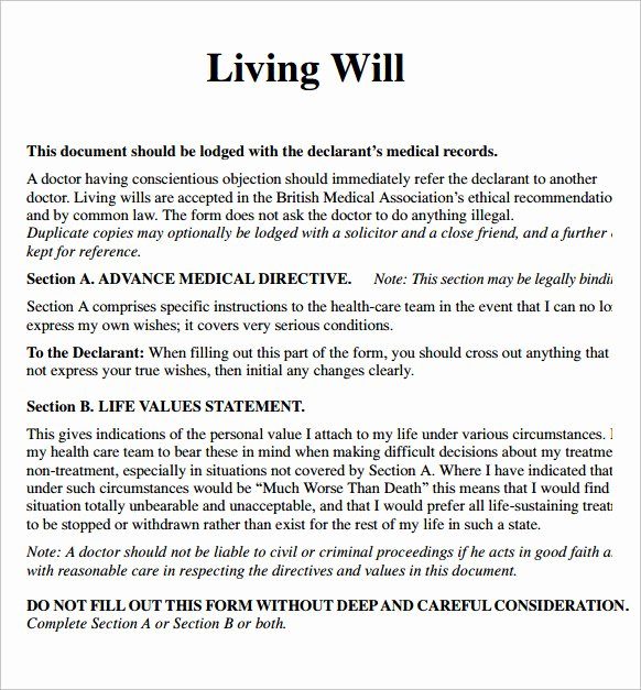 Living Will Template Free Fresh Sample Living Will – 7 Documents In Pdf Word