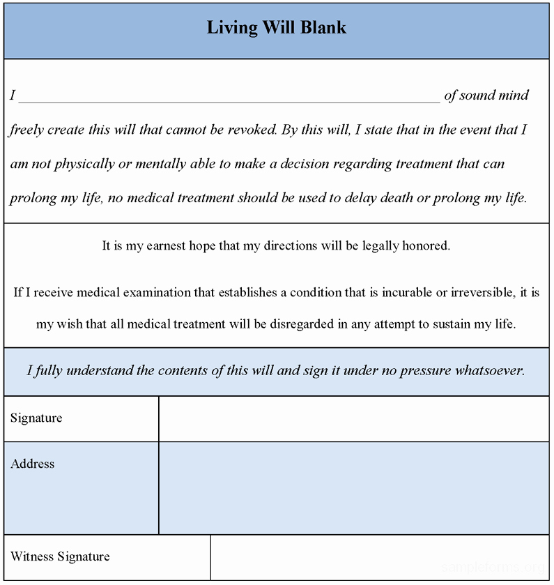 Living Will Template Pdf Elegant Living Will Blank form Sample forms
