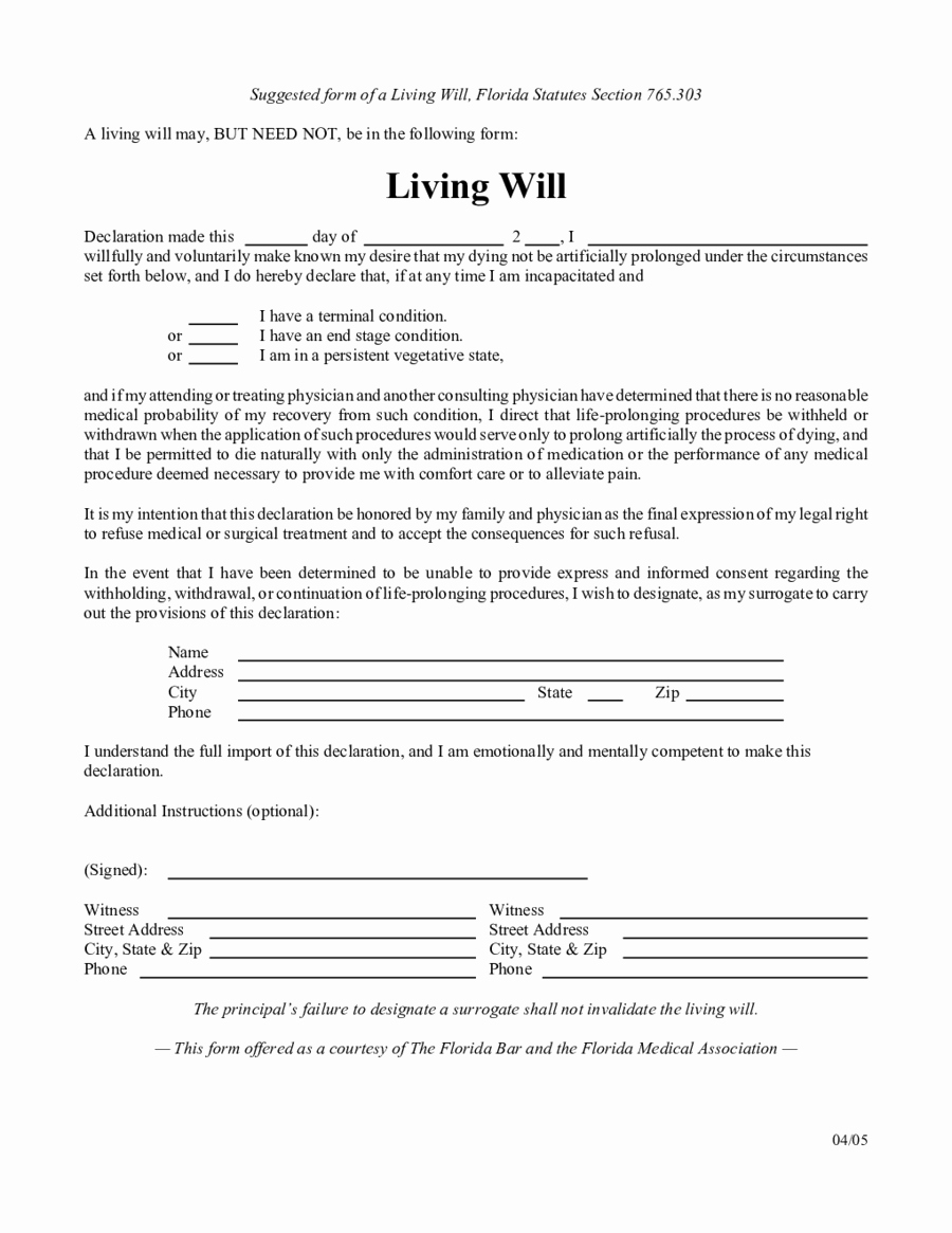 Living Will Template Pdf Elegant Living Will forms Edit Fill Sign Line