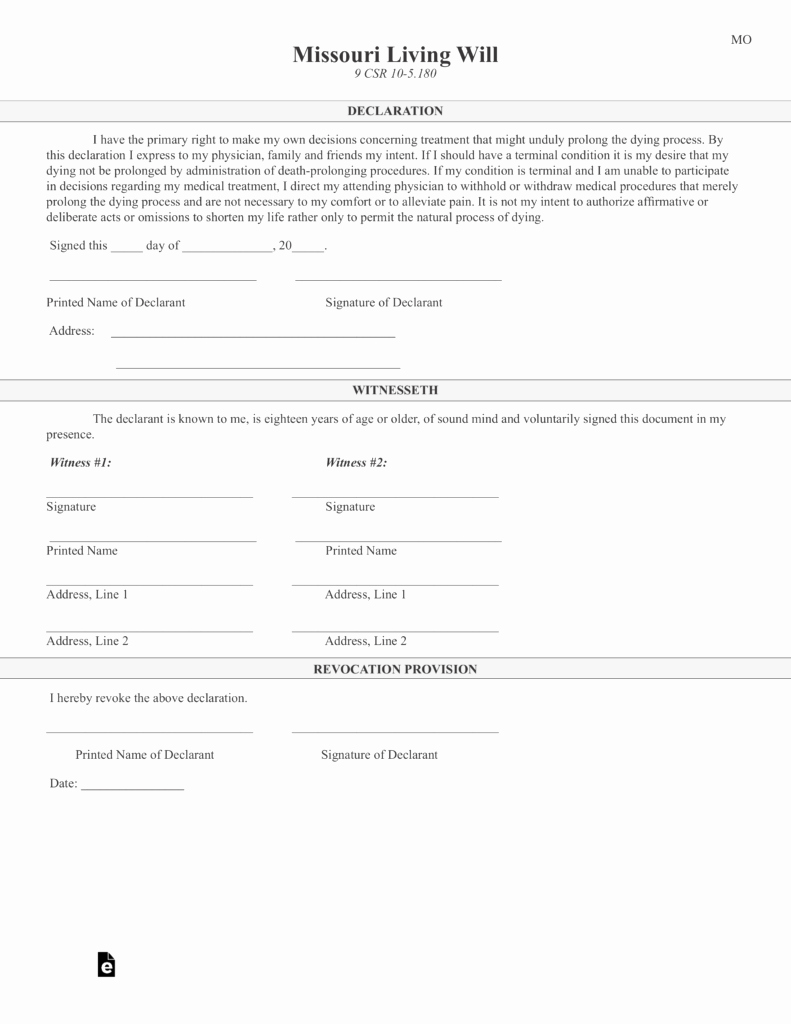 Living Will Template Pdf Lovely Free Missouri Living Will Declaration form Pdf