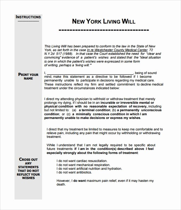 Living Will Template Pdf Unique Living Will Template 8 Download Free Documents In Pdf