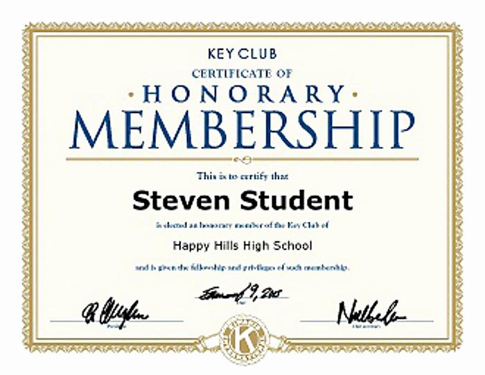 honorary life certificates