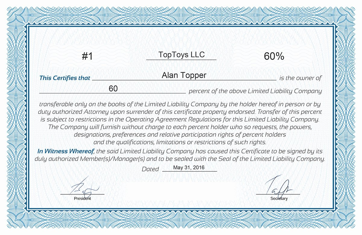 Llc Membership Certificates Templates New Free Stock Certificate Online Generator