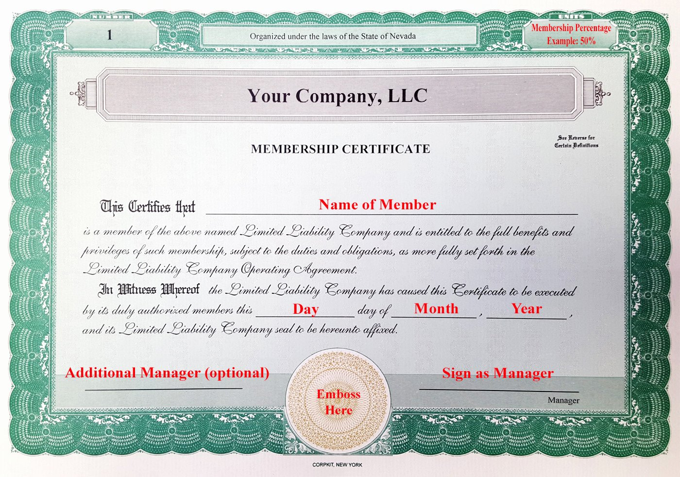 Llc Membership Certificates Templates New Laughlin associates Inc