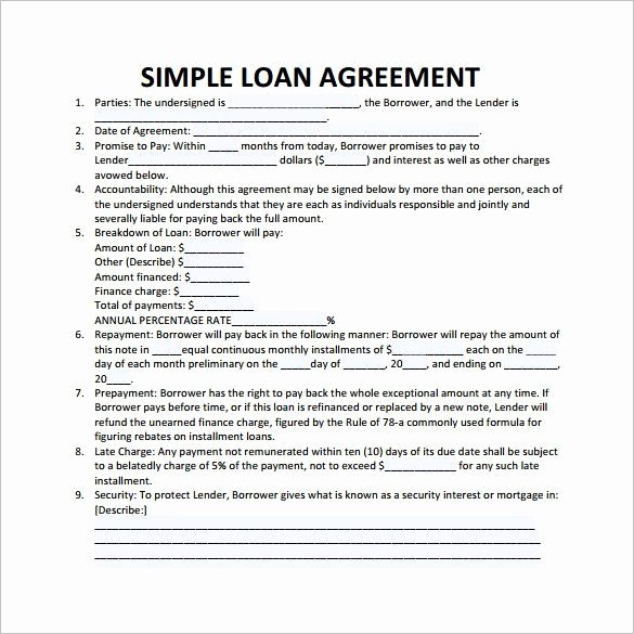 Loan Agreement Template Pdf Best Of Simple Loan Contract Template 26 Great Loan Agreement