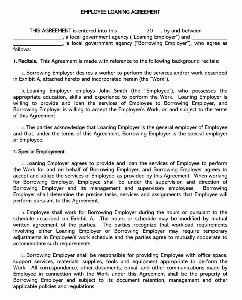 Loan Agreement Template Pdf Elegant Free Personal Loan Agreement Templates & Samples Word