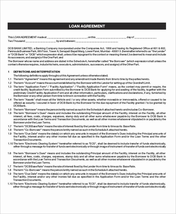 Loan Agreement Template Pdf Lovely Loan Agreement Template 18 Free Word Pdf Document
